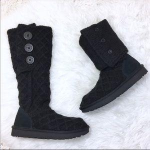 UGG Lattice Cardy UGGpure Knit Boot Black Size 6